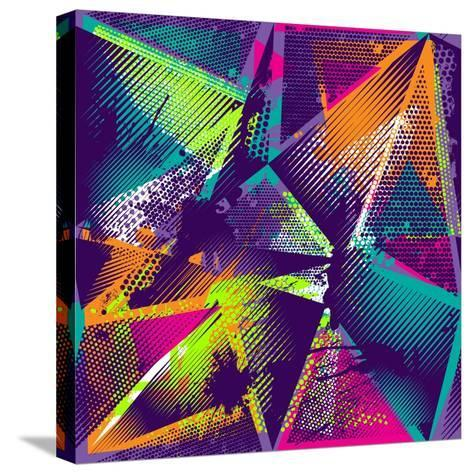 Abstract Seamless Geometric Pattern with Urban Elements, Scuffed, Drops, Sprays, Triangles, Neon Sp-Little Princess-Stretched Canvas Print