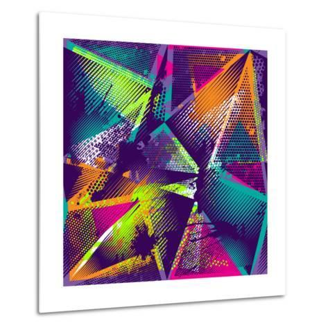 Abstract Seamless Geometric Pattern with Urban Elements, Scuffed, Drops, Sprays, Triangles, Neon Sp-Little Princess-Metal Print