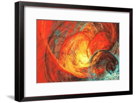 Flaming Sun. Abstract Painting Texture in Summer Color. Modern Futuristic Red Pattern. Bright Color-Excellent backgrounds-Framed Art Print