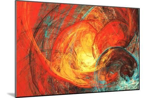 Flaming Sun. Abstract Painting Texture in Summer Color. Modern Futuristic Red Pattern. Bright Color-Excellent backgrounds-Mounted Art Print