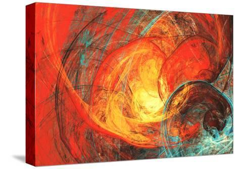 Flaming Sun. Abstract Painting Texture in Summer Color. Modern Futuristic Red Pattern. Bright Color-Excellent backgrounds-Stretched Canvas Print