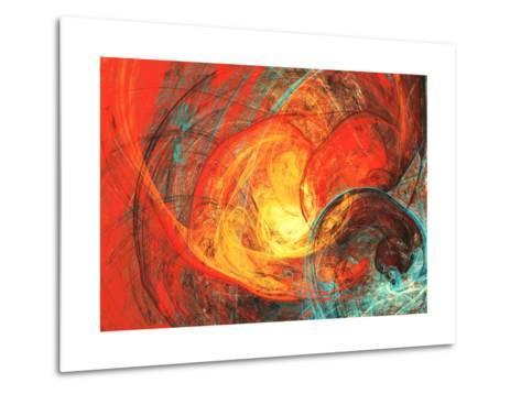 Flaming Sun. Abstract Painting Texture in Summer Color. Modern Futuristic Red Pattern. Bright Color-Excellent backgrounds-Metal Print
