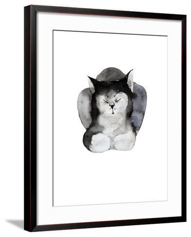 Watercolor Illustration of Cat for Postcard. Hand Drawn Painting Domestic Animals.-Kat_Branch-Framed Art Print