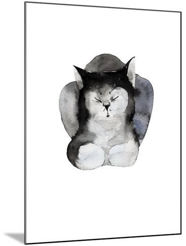 Watercolor Illustration of Cat for Postcard. Hand Drawn Painting Domestic Animals.-Kat_Branch-Mounted Art Print