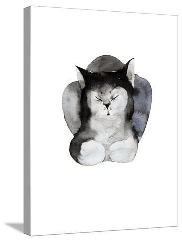 Watercolor Illustration of Cat for Postcard. Hand Drawn Painting Domestic Animals.-Kat_Branch-Stretched Canvas Print