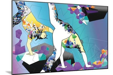 Brazilian People Playing Capoeira Martial Arts in Brazil. Abstract Illustration-Liya Zonova-Mounted Art Print