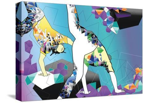 Brazilian People Playing Capoeira Martial Arts in Brazil. Abstract Illustration-Liya Zonova-Stretched Canvas Print