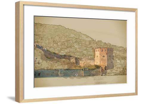 Travel Background in Vector Format. Modern Stylish Painting with Watercolor and Pencil. Kizil Kule- Romas_Photo-Framed Art Print