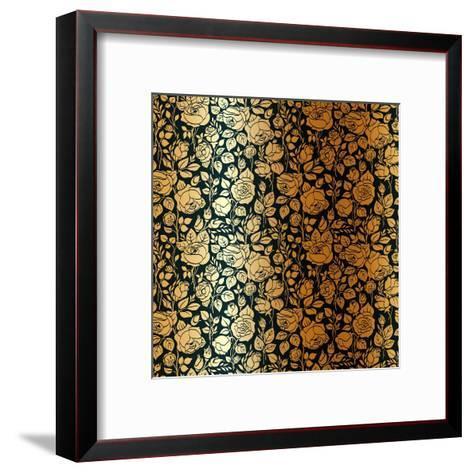 Gold Vintage Seamless Pattern with Garden Roses-Olga Korneeva-Framed Art Print