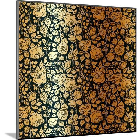 Gold Vintage Seamless Pattern with Garden Roses-Olga Korneeva-Mounted Art Print