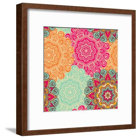 Seamless Pattern. Vintage Decorative Elements. Hand Drawn Background. Islam, Arabic, Indian, Ottoma- Snezh-Framed Art Print