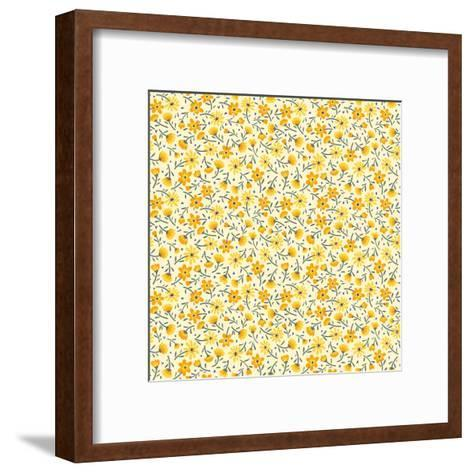 Cute Pattern in Small Flower. Small Yellow Flowers. White Background. Ditsy Floral Background. the- Ann and Pen-Framed Art Print