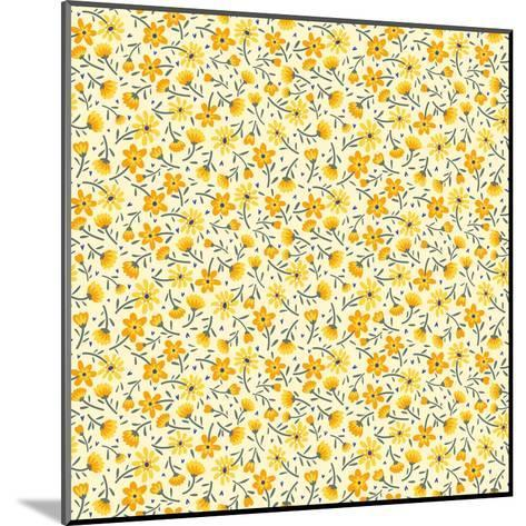 Cute Pattern in Small Flower. Small Yellow Flowers. White Background. Ditsy Floral Background. the- Ann and Pen-Mounted Art Print
