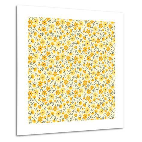 Cute Pattern in Small Flower. Small Yellow Flowers. White Background. Ditsy Floral Background. the- Ann and Pen-Metal Print