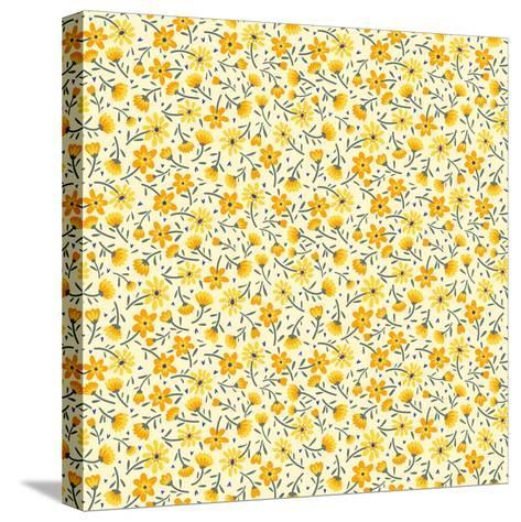 Cute Pattern in Small Flower. Small Yellow Flowers. White Background. Ditsy Floral Background. the- Ann and Pen-Stretched Canvas Print