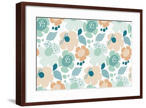 Abstract Stylized Floral. Abstract Pale Color Floral Seamless Pattern. Modern Textured Geometry Flo- Galyna_P-Framed Art Print