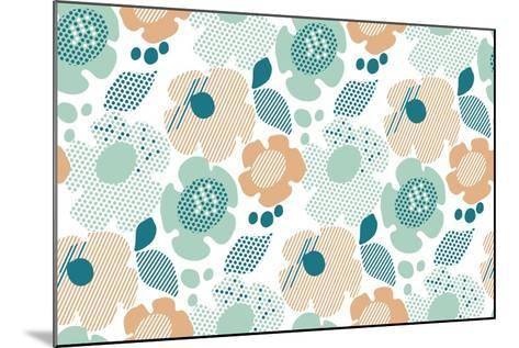 Abstract Stylized Floral. Abstract Pale Color Floral Seamless Pattern. Modern Textured Geometry Flo- Galyna_P-Mounted Art Print