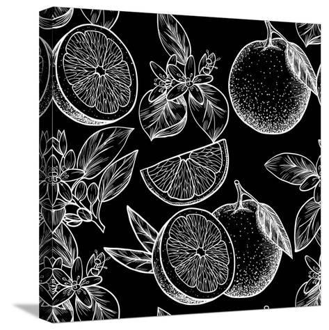Oranges and Flowers. Vector Seamless Pattern.Vintage Style-Rina Oshi-Stretched Canvas Print