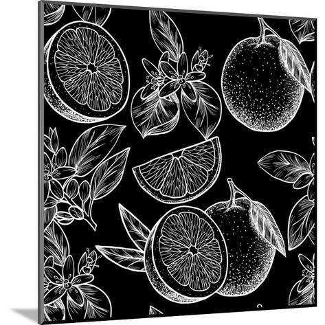 Oranges and Flowers. Vector Seamless Pattern.Vintage Style-Rina Oshi-Mounted Art Print