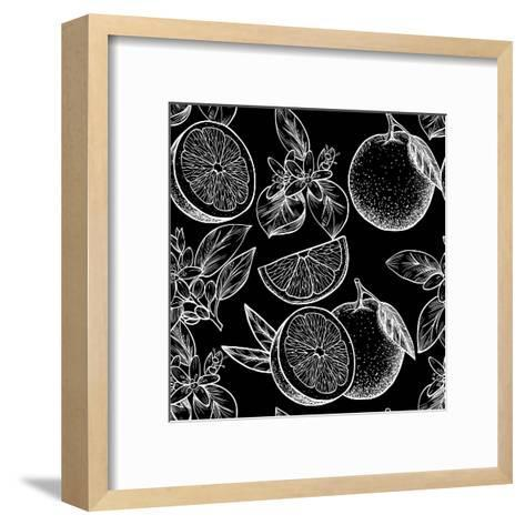 Oranges and Flowers. Vector Seamless Pattern.Vintage Style-Rina Oshi-Framed Art Print