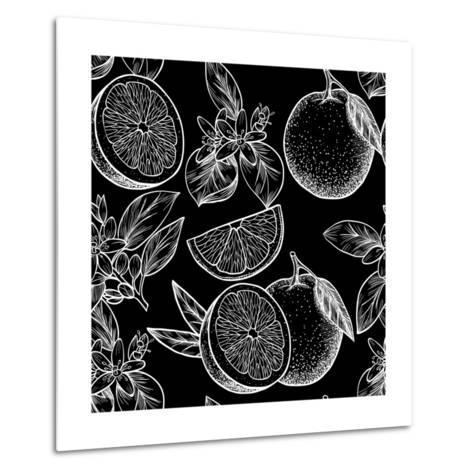 Oranges and Flowers. Vector Seamless Pattern.Vintage Style-Rina Oshi-Metal Print