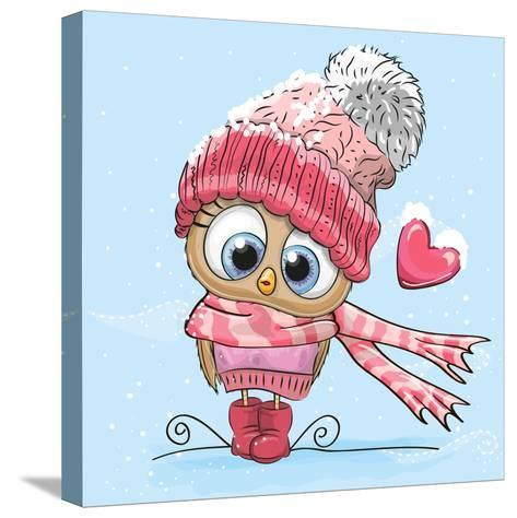 Cute Cartoon Owl in a Hat and Scarf- Reginast777-Stretched Canvas Print