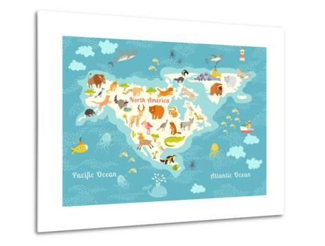 Animals World Map, North America.Colorful Cartoon Vector Illustration for Children and Kids. North-Rimma Z-Metal Print