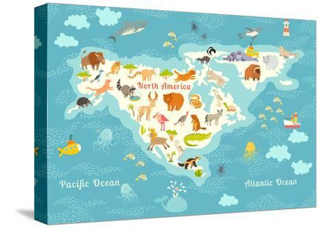 Animals World Map, North America.Colorful Cartoon Vector Illustration for Children and Kids. North-Rimma Z-Stretched Canvas Print