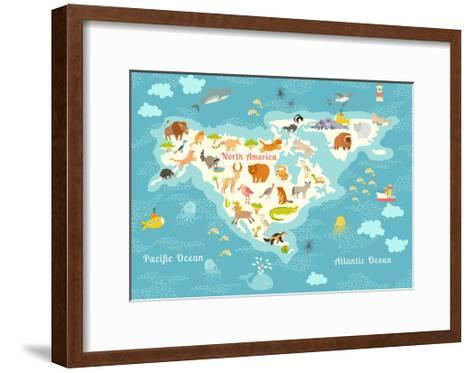 Animals World Map, North America.Colorful Cartoon Vector Illustration for Children and Kids. North-Rimma Z-Framed Art Print