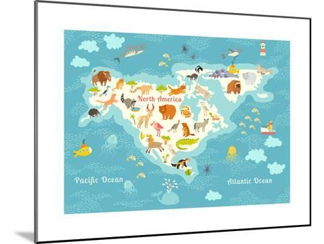 Animals World Map, North America.Colorful Cartoon Vector Illustration for Children and Kids. North-Rimma Z-Mounted Art Print