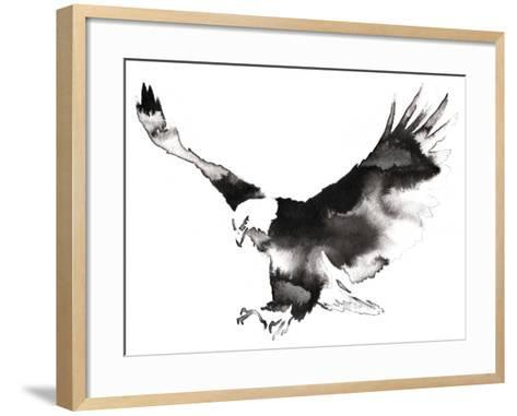 Black and White Monochrome Painting with Water and Ink Draw Eagle Bird Illustration-Evgeny Turaev-Framed Art Print