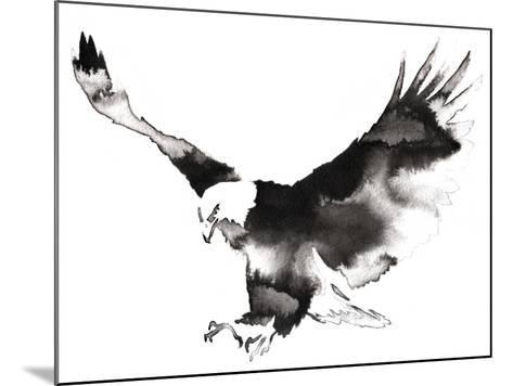 Black and White Monochrome Painting with Water and Ink Draw Eagle Bird Illustration-Evgeny Turaev-Mounted Art Print