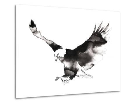 Black and White Monochrome Painting with Water and Ink Draw Eagle Bird Illustration-Evgeny Turaev-Metal Print