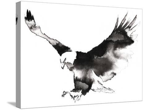 Black and White Monochrome Painting with Water and Ink Draw Eagle Bird Illustration-Evgeny Turaev-Stretched Canvas Print