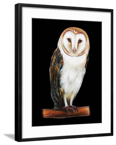Barn Owl Drawing on Black Background- viktoriya_art-Framed Art Print