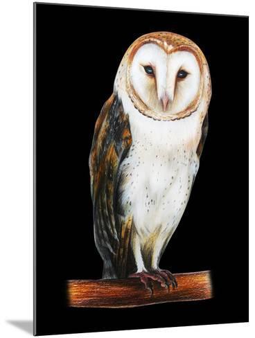 Barn Owl Drawing on Black Background- viktoriya_art-Mounted Art Print
