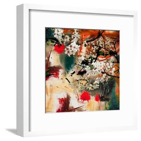Spring Motif, Abstract Background Oil Painting and Mixed Media- Kvocek-Framed Art Print