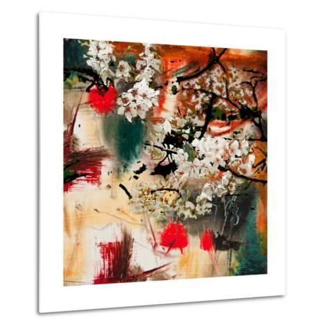 Spring Motif, Abstract Background Oil Painting and Mixed Media- Kvocek-Metal Print