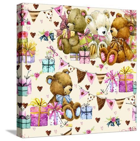 Cute Teddy Bear Seamless Pattern. Kids Birthday Watercolor Background.-Faenkova Elena-Stretched Canvas Print