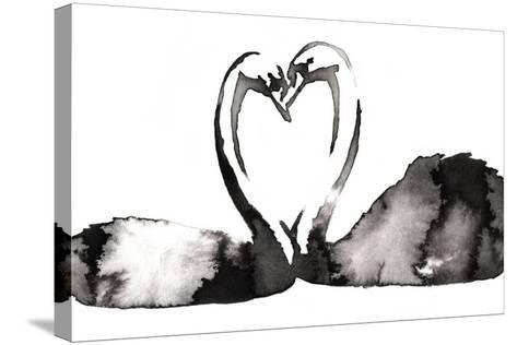 Black and White Monochrome Painting with Water and Ink Draw Swan Bird Illustration-Evgeny Turaev-Stretched Canvas Print