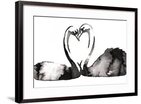 Black and White Monochrome Painting with Water and Ink Draw Swan Bird Illustration-Evgeny Turaev-Framed Art Print