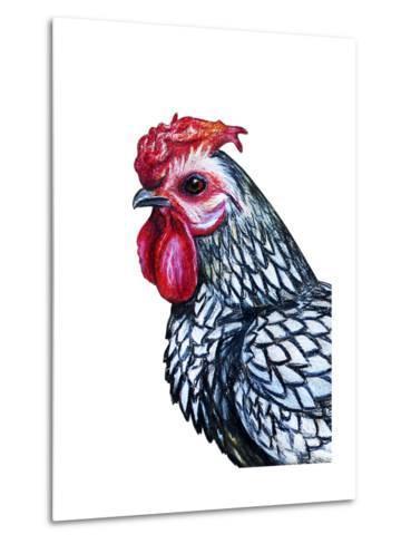 Rooster Decorative Portrait Drawing- viktoriya_art-Metal Print