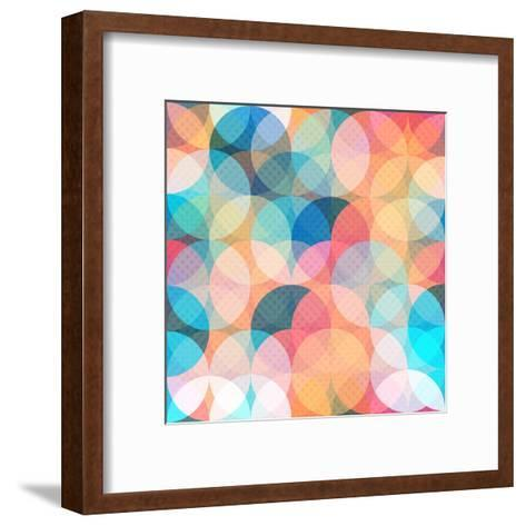 Colored Circle Seamless Pattern- gudinny-Framed Art Print
