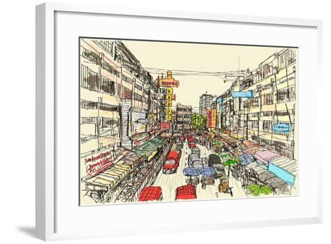 Sketch Thai Local Market Place in Chiangmai, Free Hand Draw Vector Illustration- arnont108-Framed Art Print