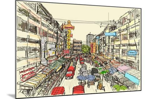 Sketch Thai Local Market Place in Chiangmai, Free Hand Draw Vector Illustration- arnont108-Mounted Art Print