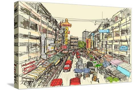 Sketch Thai Local Market Place in Chiangmai, Free Hand Draw Vector Illustration- arnont108-Stretched Canvas Print