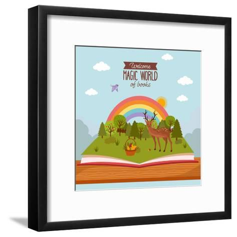 Fairy Tale Concept. Kids Illustration with Forest Land, Wild Deer, Flowers Basket and Rainbow. Imag- twobears_art-Framed Art Print