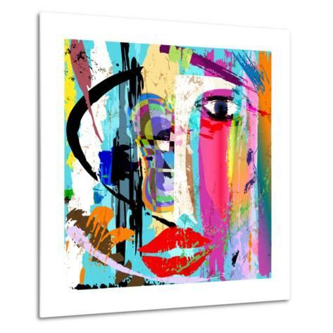 Abstract Background Composition, with Paint Strokes and Splashes, Face/Mask-Kirsten Hinte-Metal Print