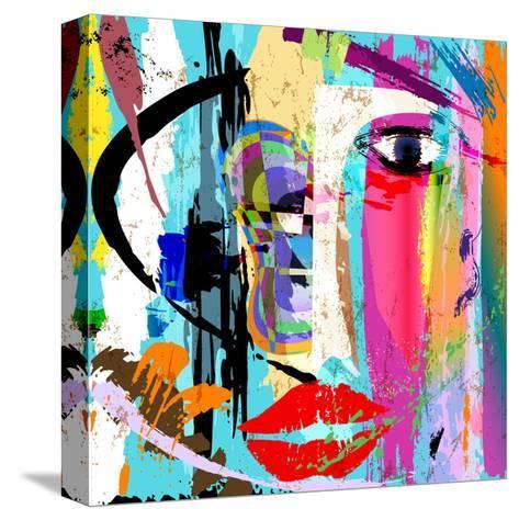 Abstract Background Composition, with Paint Strokes and Splashes, Face/Mask-Kirsten Hinte-Stretched Canvas Print