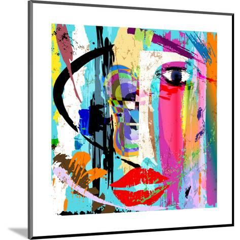 Abstract Background Composition, with Paint Strokes and Splashes, Face/Mask-Kirsten Hinte-Mounted Art Print